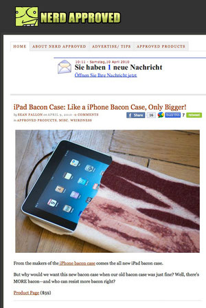 Nerd Approved - iPad Bacon Case: Like a iPhone Bacon Case, Only Bigger!