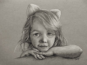 Children's portraiture featuring a pencil sketch of a cute little girl.