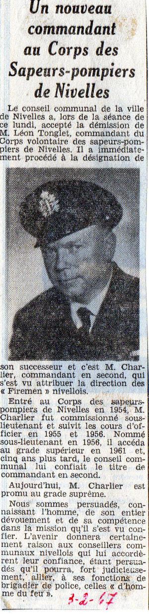 """Article paru dans le journal """"Le Peuple"""" du 3/02/1967"""