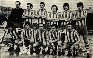 Villosa 1971/72, forman en Altzarrate de izquierda a derecha en la fila superior: Santamaría, Atxaerandio, Villa, Dueñas, Escalza y Ramírez Escudero. En la fila inferior y por el mismo: Otezabal, Legorburu, Urquijo, Bilbao y Lekue.
