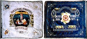 Vereinsfahne des e. Jünglingsvereins (Vorder- und Rückseite)
