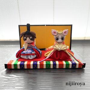わんちゃんのお雛様 つまみ細工nijiiroya