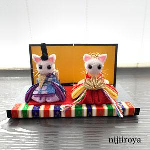 ねこちゃんのお雛様 つまみ細工nijiiroya