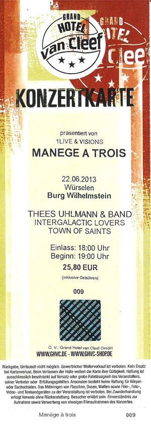 Nr.88 - 22.06.2013 - Manege a trois (u.A. Thees Uhlmann) - Burg Wilhelmstein, Würselen