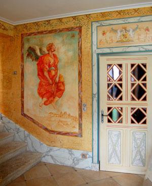 fresque sur platre,enduit patiné,plinthe faux marbre