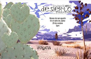 """Lectura de poesía """"Lloviendo en el desierto, yo viendo en la ciudad""""."""