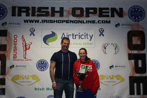 Nicola & her proud father at the Irish Open 2010