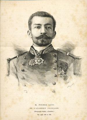 Pierre Loti Bois gravé (41 x 29 cm) publié dans L'Univers Illustré N° 1888 du 30 mai 1891