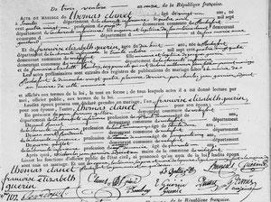 Acte de mariage de Thomas Clanet à Rochefort le 3 ventôse An 11