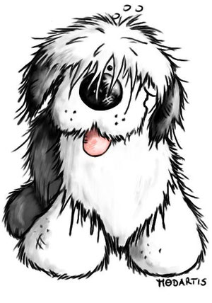 Shirtmotiv: Bobtail- Old English Sheepdog- Bobtailcartoon-Bobtailportrait