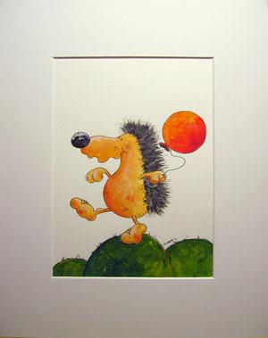 Knalleffekt- Igel mit Luftballon - Cartoon