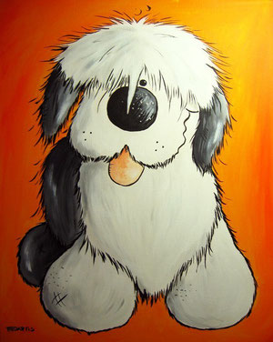 Bobtail- Old English Sheepdog- Bobtailcartoon-Bobtailportrait