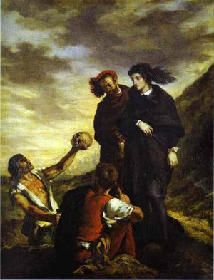 Eugène Delacroix, Hamlet and Horatio in the Graveyard (1839)