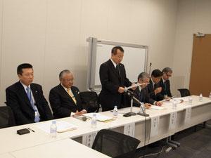 共同声明を読み上げる森利男再生可能エネルギー推進団体連絡協議会会長