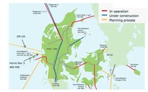 デンマークの主な送電線。赤が既存のグリッド、青は建設中、黄色は計画中。 (資料提供=Energy Analyses社)