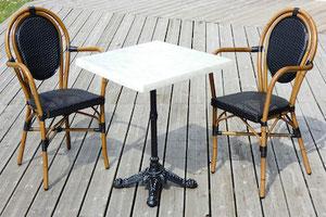 Table de terrasse de restaurant carrée 60x60cm marbre