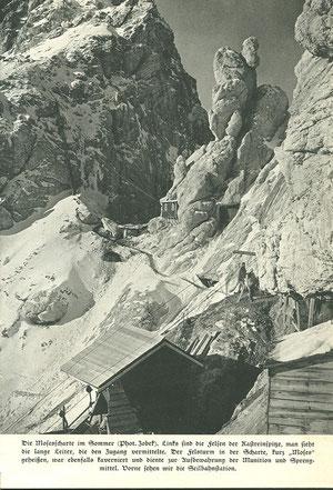 Die direkt an der Front liegende Mosesscharte im 1. Weltkrieg