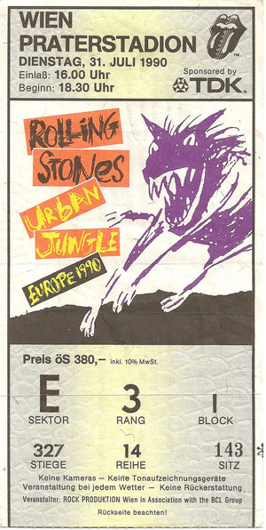 Rolling Stones, Urban Jungle Europe Tour, Wien Praterstadion 30. Juli 1990