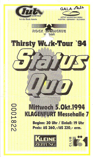 Status Quo Klagenfurt Messehalle 5. Oktober 1994