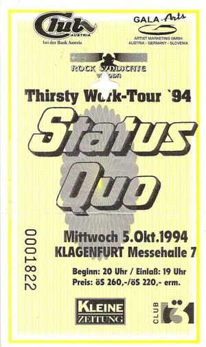 Status Quo, Thitsty Work-Tour 94,  Klagenfurt Messehalle 5. Oktober 1994