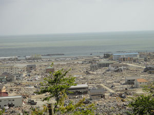 高台から見た石巻門脇地区