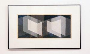 "Josef Albers, ""o.T. (geometrie grige-nere)"", 1940, Mischtechnik auf Papier, gerahmt 43 x 70 cm"