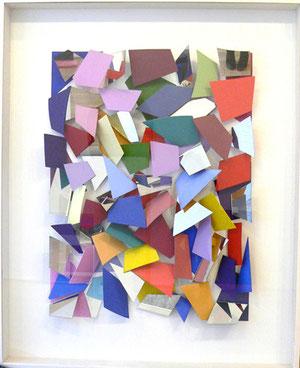 "Christian Megert, ""o.T."", 2011, Mischtechnik, farbiges Scherbenbild, der verglaste Holzkasten ist integraler Bestandteil des Reliefs, 154 x 134,5 cm, Unikat"
