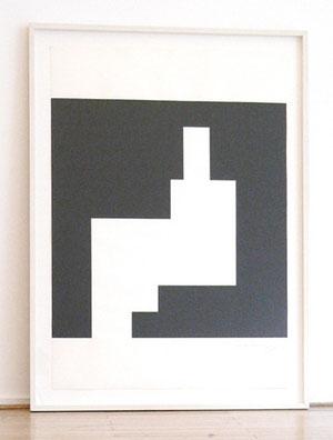 """Aurelie Nemours, """"Serie structures du silence"""", 1987, Vinyl auf Papier, 100 x 70 cm"""