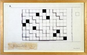 """Mary Martin, """"White Permutation"""", 1965, Bleistift, Tinte auf Papier, 38,2 x 60 cm, gerahmt"""