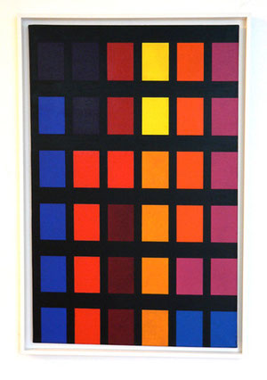 "Aurelie Nemours, ""Vindémiatrix"", 1969, Öl auf Leinwand, 92 x 60 cm"