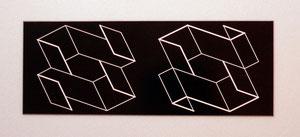 """Josef Albers, """"Duo H"""", 1966, Relief, in schwarzes Resopal graviert, 9,8 x 34,8 cm"""
