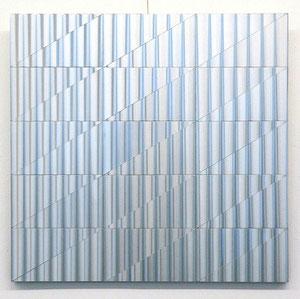 "Getulio Alviani, ""superficie a testura vibratile"", 1971, Metallrelief, 60,5 x 63 cm"