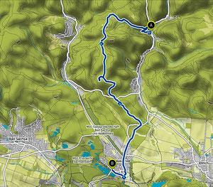 Bild: Wanderkarte von Zorge nach Wolkenried im Südharz