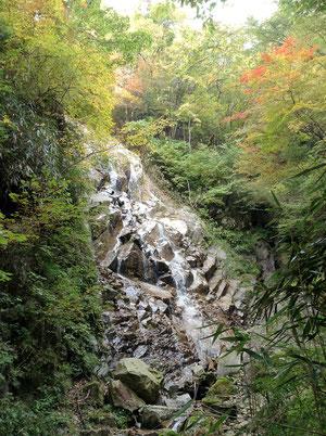 沢を登って行くと現れる乙女の滝