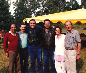 1988 Anniversary at Avatar's Abode. ( L-R ) Sam Kerawalla,Tony Zois, Baba's nephews ;Sohrab & Rustom Irani, unknown lady, Anthony Thorpe