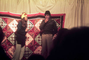1975 ; Chris in a play with Raine Eastman-Gannett at the Anniversay, Avatar's Abode, Australia ; Photo taken by Anthony Zois