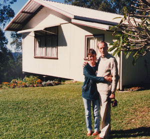 Anthony Thorpe ( right ) with Jill Hobbs standing outside Baba's House. Avatar's Abode Anniversar 1988
