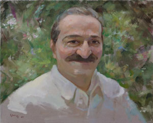 Meher Baba in the Garden Meherazad, September 16, 1954 ; Artist - Gregg Rosen