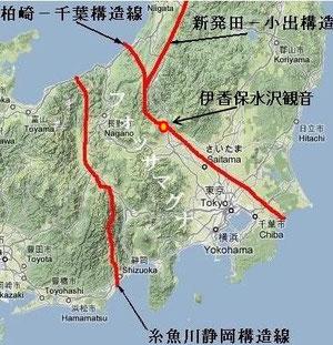 柏崎千葉構造線のほぼ中央、エネルギーの中心地に伊香保水沢観音があります。なお糸魚川静岡構造線の中心地は諏訪大社です。