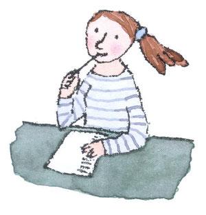 Illustration Mädchen am Schreibtisch