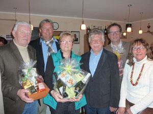 Vorstand mit den Jubilaren v.lks.: Peter Borowski, Roland Stahl (2.Vors.) Heidrun Lohrengel, Gero Fröhlich (1.Vors.) Arndt Stollberg, Gabi Alter (Schatzmeisterin)