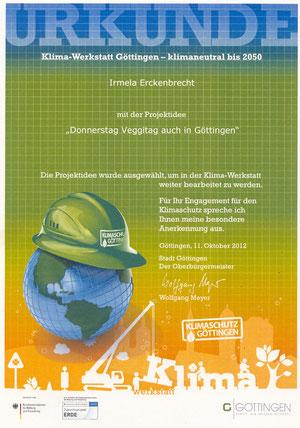 Urkunde zur Auswahl für die Klimawerkstadt der Stadt Göttingen