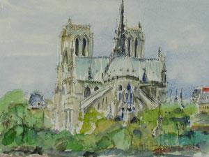 Notre Dame de Paris, w/c, 9x12