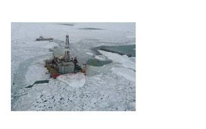 Abbildung 10: North Caspian Projekt, Parker Rig 257 im Kaspischen Meer mit und ohne Eis (Quelle Dr. Kühnlein