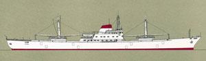 """Bild 1: Das Kühlschiff """"Polarlicht"""" der Hamburg Süd (Baujahr 1964, Bauwerft Blohm & Voss) mit teilautomatisiertem Hauptdieselmotor und vollautomatischer Ladungskühlanlage (Quelle B&V)"""