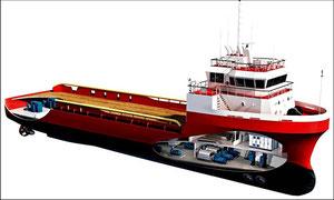 Abbildung 6: Auch bei den Offshore-Versorgern mit hohen Redundanzanforderungen wird eine flexible Anordnung der Maschinen- und Antriebsanlgen ermöglicht (Quelle Heine)