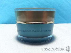 Tarro doble fondo de acrílico, tarros cosméticos de acrílico