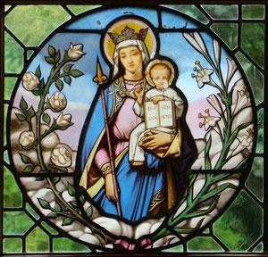 La Vierge à l'Enfant. Restauration et conservation.vitrail baroque. Atelier Théophile.Philippe Brissy. Saumur