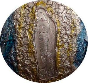 La grotte de Lourdes. verre fusionné et thermoformé. Philippe Brissy. Atelier Théophile. Saumur