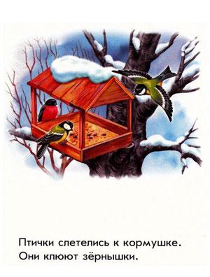 Птички слетелись к кормушке